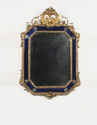 AN ITALIAN BLUE GLASS AND GILT