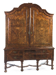 A DUTCH BURR-WALNUT CABINET-ON