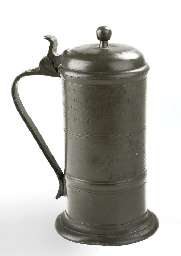 A DUTCH PEWTER GUILD FLAGON