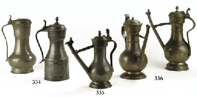 A SWISS LIDDED PEWTER FLAGON