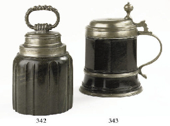 A GERMAN PEWTER-MOUNTED SERPEN