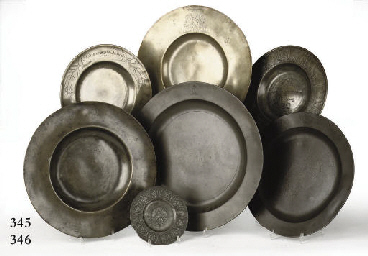 THREE LARGE ENGLISH PEWTER DIS