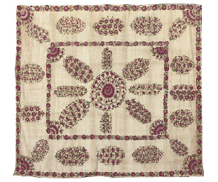 A SUZANI EMBROIDERY WALL HANGI