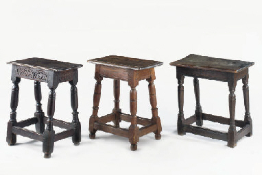 THREE ENGLISH OAK JOINT STOOLS