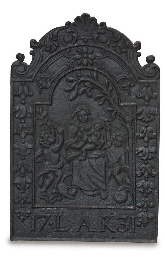 A DUTCH CAST IRON HEARTH PLATE