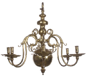 A DUTCH BRASS SIX-LIGHT CHANDE
