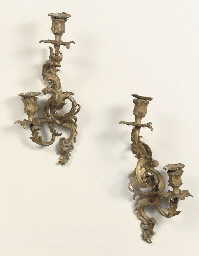 A PAIR OF DUTCH GILT LEAD TWO-