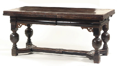 A DUTCH OAK AND EBONISED DRAW-