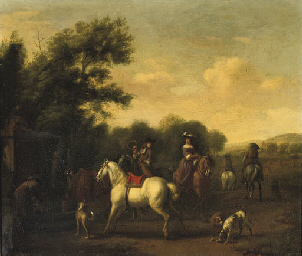 A hunting party resting at a w