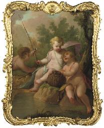 Three putti fishing in a woode