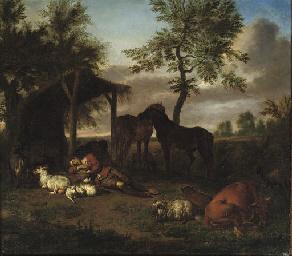 A herdsman sleeping outside a