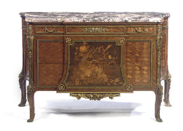 A GILT METAL MOUNTED PARQUETRY