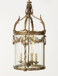 AN ORMOLU HALL LAMP