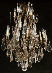 A FRENCH CUT GLASS NINE-LIGHT