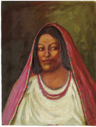 Woman with red rebozo