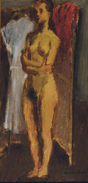 Female nude standing in a dres