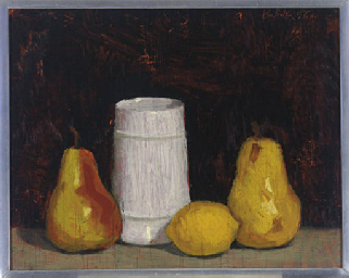 Still life of two pears, a lem