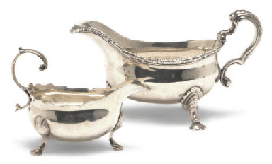 TWO GEORGE II SILVER SAUCE BOA