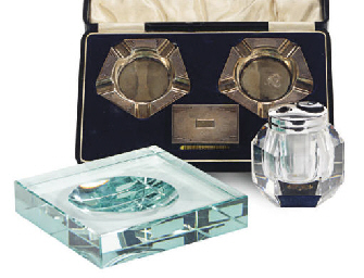 AN ENGLISH SILVER SMOKING SET