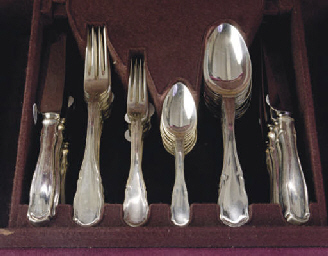 A GERMAN SILVER PART FLATWARE