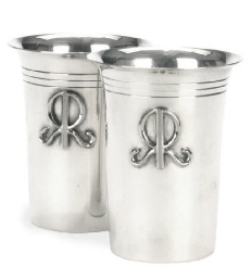 TWO AMERICAN SILVER BEAKER CUP