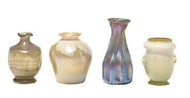 FOUR AMERICAN FAVRILE GLASS MI