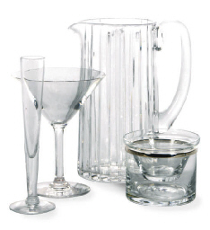A FRENCH GLASS PITCHER AND A G