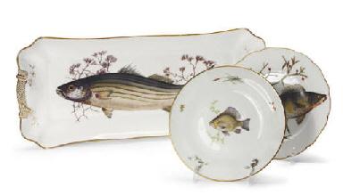 A LIMOGES PORCELAIN PART FISH