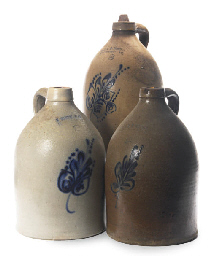 THREE AMERICAN STONEWARE TWO G