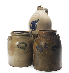 TWO AMERICAN STONEWARE CROCKS