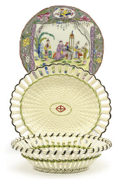 AN ENGLISH QUEEN'S WARE BASKET