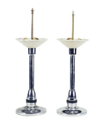 A PAIR OF CHROME TABLE LAMPS,