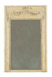 A CARVED PINE TRUMEAU MIRROR,