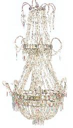 A CUT-GLASS NINE-LIGHT CHANDEL