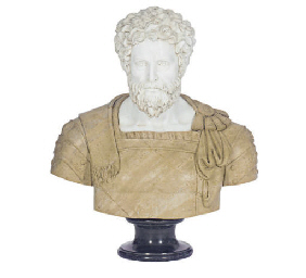 A COMPOSITION MARBLE BUST,