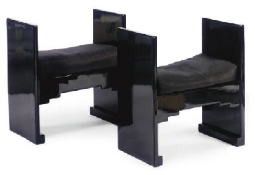 A PAIR OF BLACK LACQUERED STOO