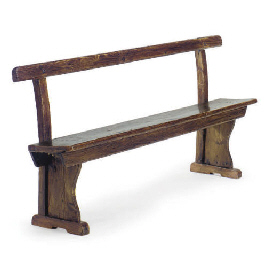A STAINED OAK BENCH,