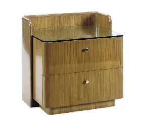 A LAMINATED TWO-DRAWER BEDSIDE