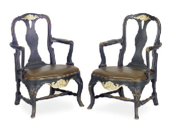 A PAIR OF SWEDISH BLACK-PAINTE