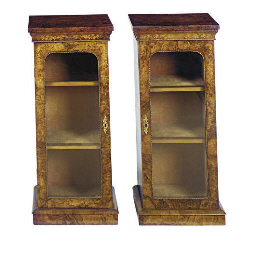 A PAIR OF VICTORIAN WALNUT AND
