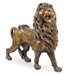 A CARVED CAROUSEL LION,