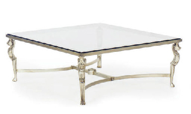 A SILVERED GLASS-TOP LOW TABLE