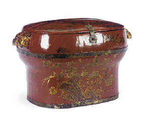 A RED AND GILT-LACQUERED BOX,