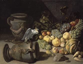 Perroquet, urnes et fruits sur