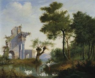 Ruines antiques au bord d'un l