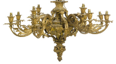 A GILT-BRONZE TWELVE-LIGHT CHA