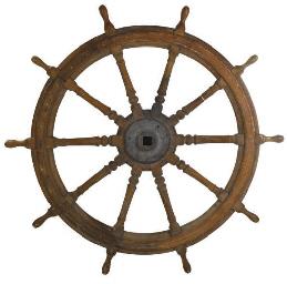 A TEAK SHIP'S WHEEL