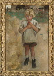 A young boy with an apple