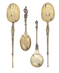 A SET OF SIX DUTCH SILVER-GILT