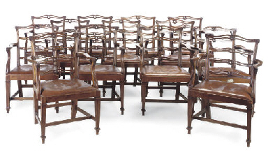 A SET OF FOURTEEN MAHOGANY LAD